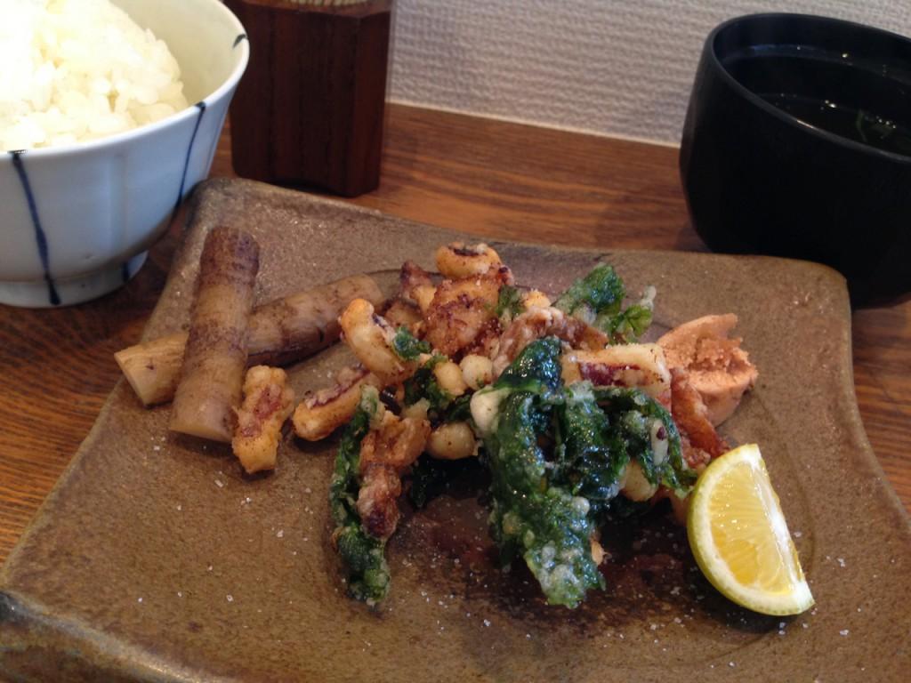 ホッキ貝とスルメイカ小松菜の韓国風炒め